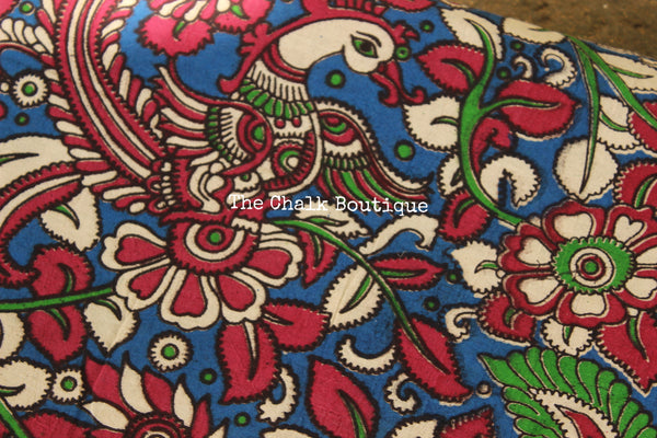 "Blue ""Peacock"" overall Hand Block Printed Cotton Kalamkari Fabric. TCB-OKAL10"