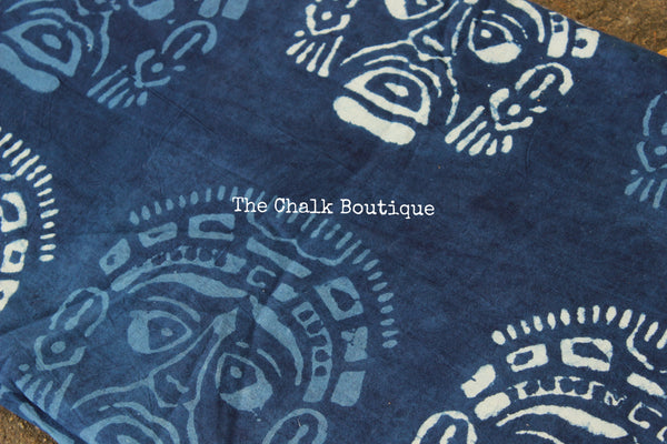 """Masks"" Indigo Hand block printed Fabric in Cotton. TCB-INFAB3"