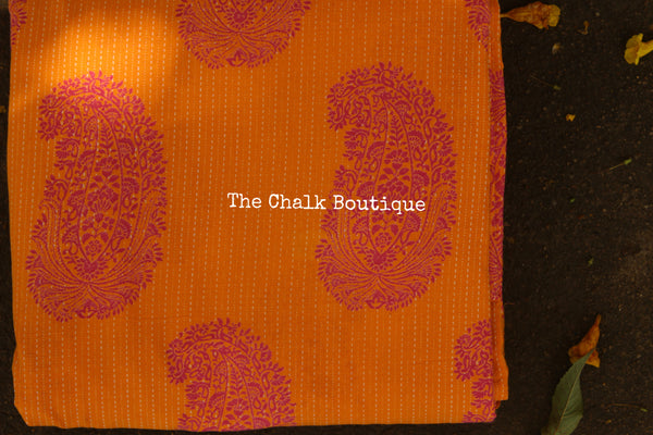 """Keri""  Hand block printed Fabric with Kantha stitch in Cotton. TCB-KERI"