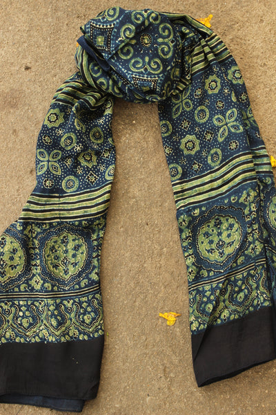 Indigo Modal Silk Vegetable Dyed Ajrakh Stole. KCH-STO6-C7