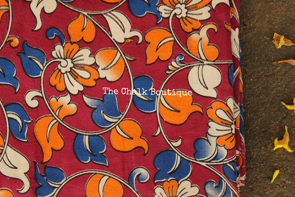 "Deep Pink ""Flower Creeper"" overall Hand Block Printed Cotton Kalamkari Fabric. TCB-OKAL11"