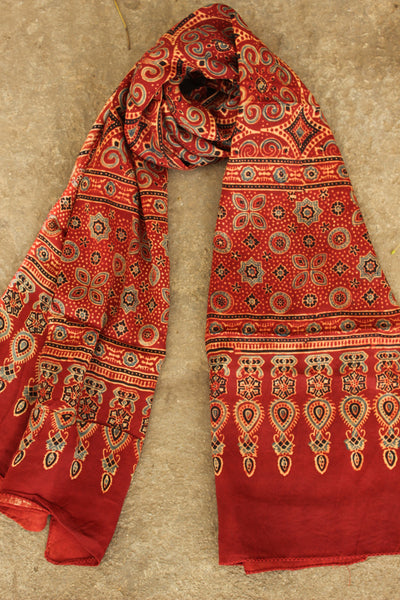 Madder Modal silk vegetable dyed Ajrakh stole. KCH-STO1-C7