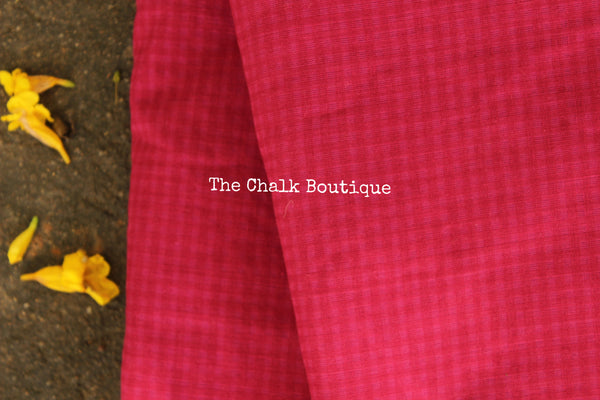Pink  Checked Handloom Cotton Fabric. TCB-FAB11-KN