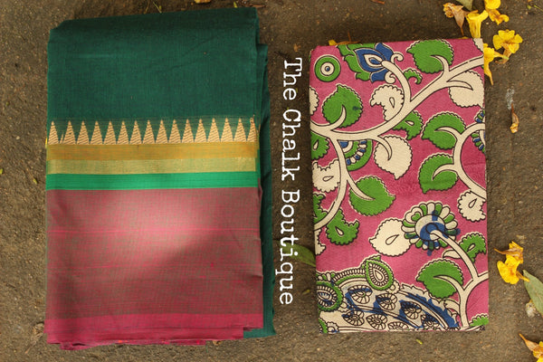 Bottle Green Kanchi Cotton Saree with contrast Woven Border. TCB-KC55-KN-The Chalk Boutique