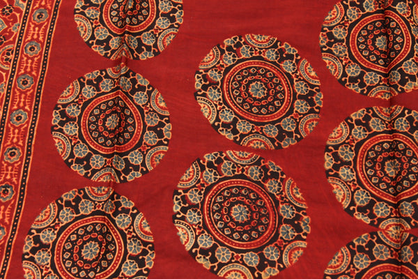 Madder Modal silk vegetable dyed Ajrakh stole. KCH-STO2-C7