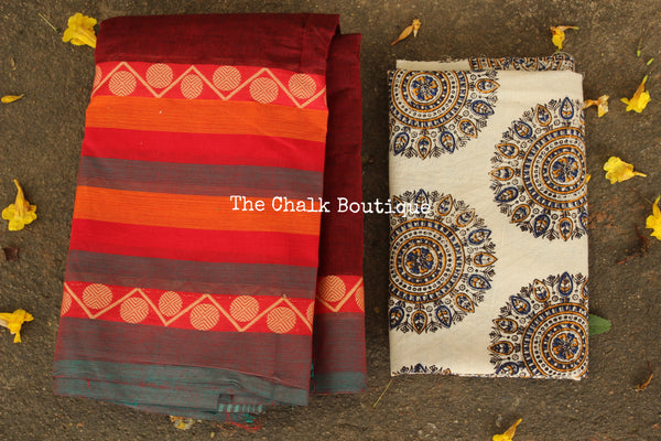 Maroon Kanchi Cotton Saree with contrast Woven Border. TCB-KC57-KN