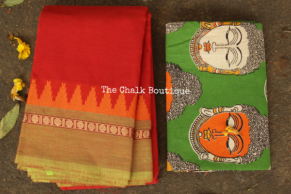 Orange Kanchi Cotton Saree with contrast Woven Border. TCB-KC58-KN