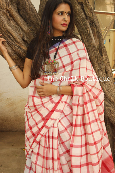 Red and White big Checks Kanchi Cotton Saree. TCB-KP4-C1