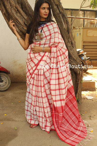 Red and White big Checks Kanchi Cotton Saree. TCB-KP4-C1-The Chalk Boutique