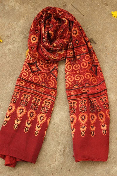 Madder Mashru Silk Vegetable Dyed Ajrakh Stole. KCH-STO13-C7