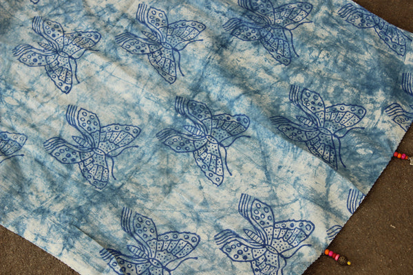 Cracks Indigo Butterfly Design Hand Block Printed Stole In Cotton. SCV0210
