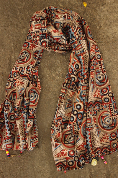 Hand Block Printed Stole In Cotton. SCV0212
