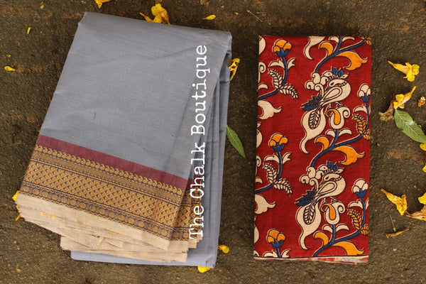 Grey Kanchi Cotton Saree with contrast Woven Border. TCB-KC59-KN