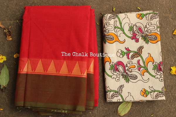 Orange  Kanchi Cotton Saree with contrast Woven Border. TCB-KC60-KN