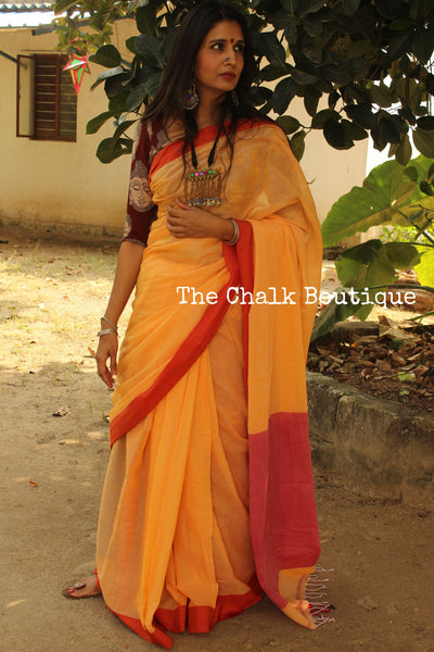 Sunset Yellow with red border Handwoven cotton saree. TCB-KC1-P7-The Chalk Boutique