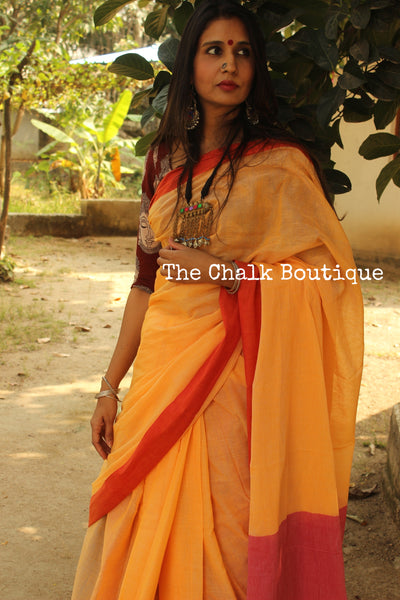 Sunset Yellow with red border Handwoven khadi cotton saree. TCB-KC1-P7
