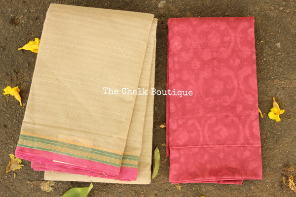 Off White Kanchi Cotton Saree with contrast Woven Border. TCB-KC61-KN