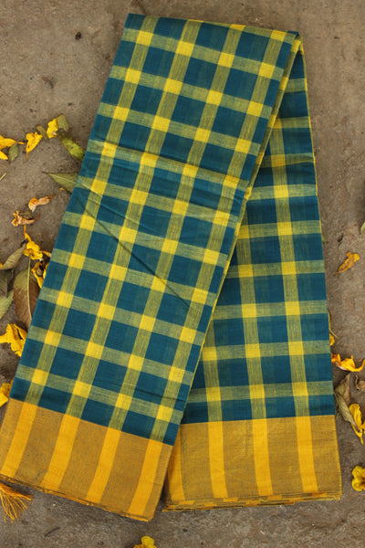 Dark blue and yellow checked Venkatagiri cotton Saree With Zari Border RK-VENK-C21-2-The Chalk Boutique