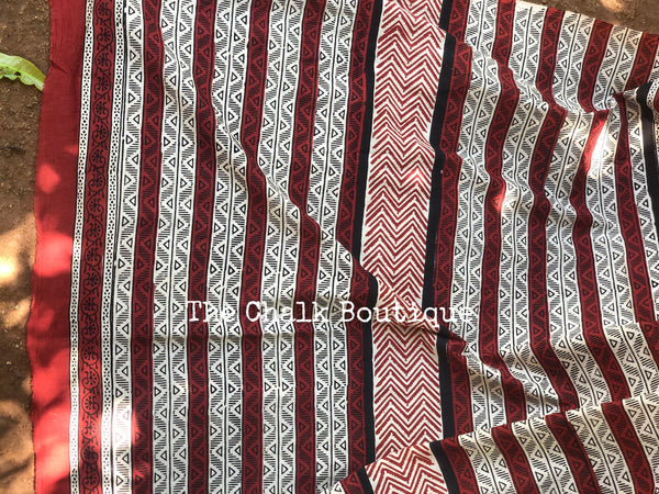 |Cotton Flower| Red Traditional Dabu Handblock printed Cotton saree.