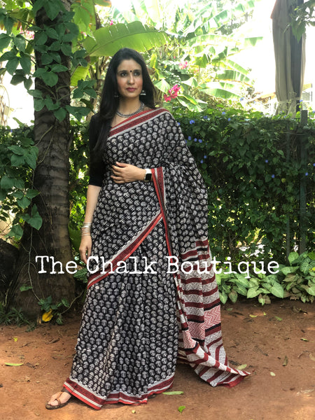 | Aster| Black Traditional Dabu Handblock printed Cotton saree.