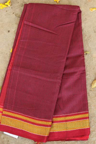 Maroon Checked Ilkal Saree in cotton silk . RK-CHI-C21-3