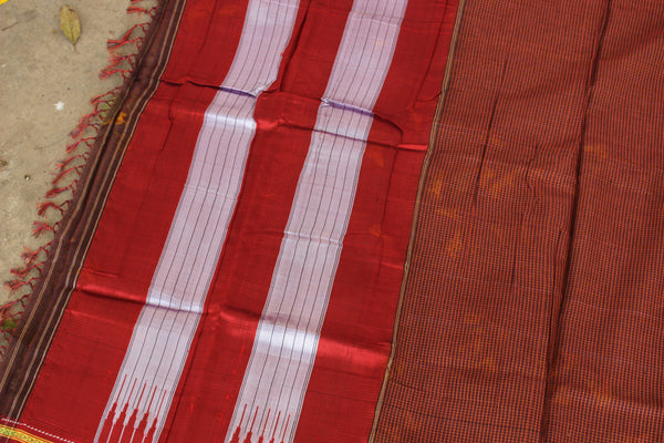 Checked Ilkal Saree in cotton silk . RK-CHI-C21-4