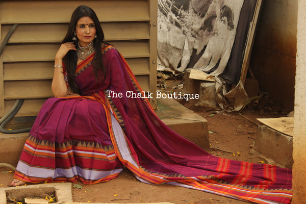 Dhoop Chaav Purple Soft Cotton Saree With Contrast Broad Temple Style Border. TCB-BB12-P18
