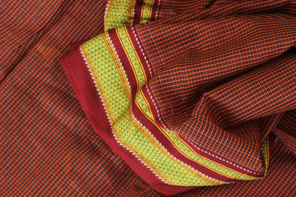 Checked Ilkal Saree in cotton silk . RK-CHI-C21-4-The Chalk Boutique