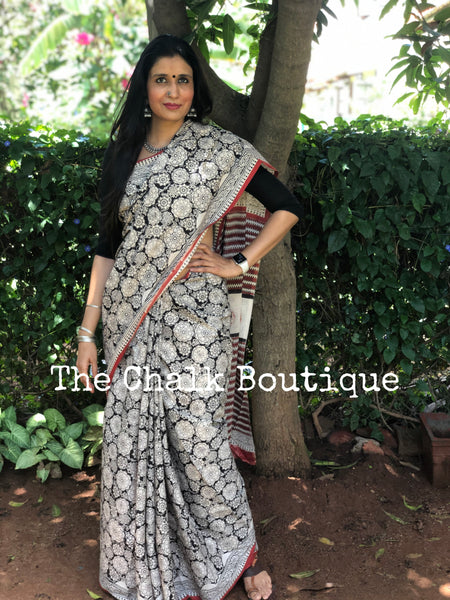 | Peony | Black Traditional Dabu Handblock printed Cotton saree with off white bootas.