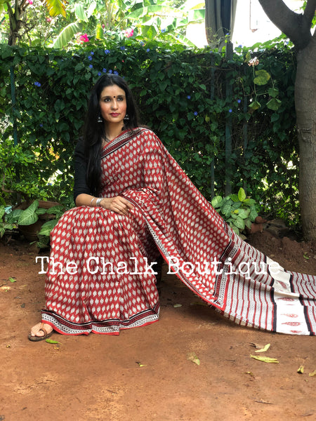 | Pankh| Red Traditional Dabu Handblock printed Cotton saree.