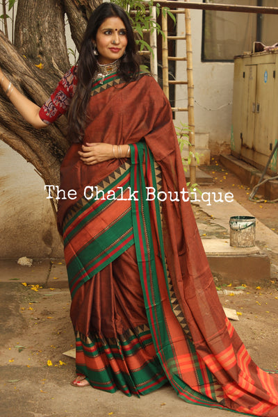 Copper Colour Soft Cotton Saree With Contrast Broad Temple Style Border. TCB-BB14-P18-The Chalk Boutique