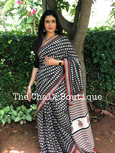 | Tulip | Black Traditional Dabu Handblock printed Cotton saree.