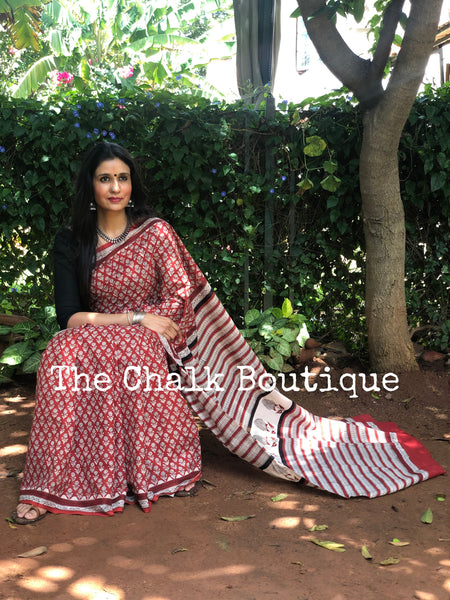 |Carnation| Red Traditional Dabu Handblock printed Cotton saree.
