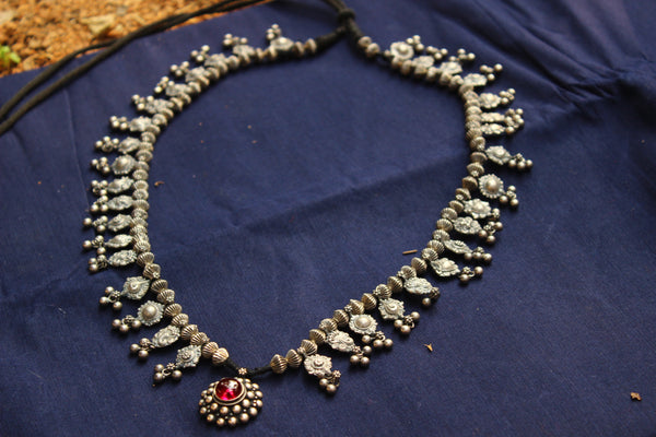 Antique Beaded silver necklace with semi precious stone pendant . VA-15-DC