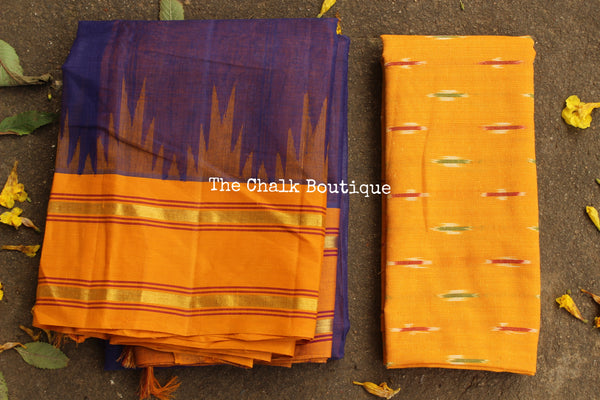 Purple Pure Handloom Kanchi Cotton Saree with contrast Border. TCB-KC67-KN-The Chalk Boutique