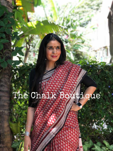 | Booti | Red Traditional Dabu Handblock printed Cotton saree.