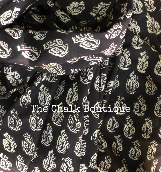 | Foliage | Black Traditional Dabu Handblock printed Cotton saree.