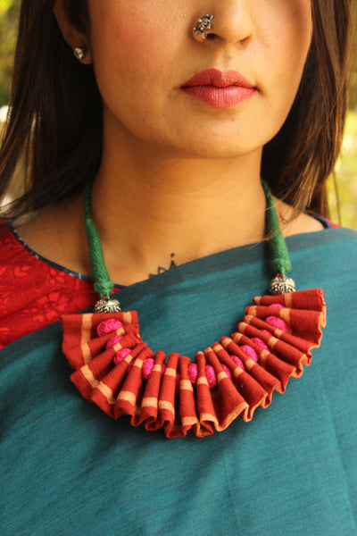 Adjustable Multicolor ruffled fabric necklace with beads. CC-FNP4-C2