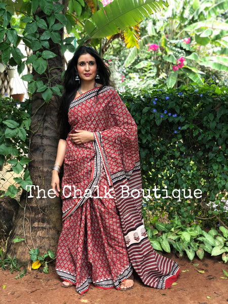 | Petunia| Red Traditional Dabu Handblock printed Cotton saree.