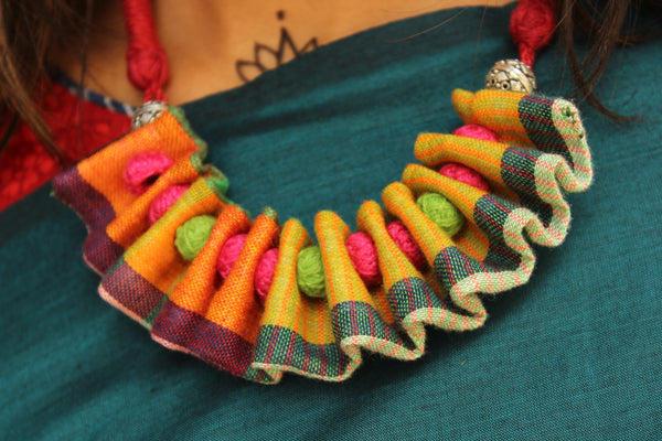 Adjustable and reversible Multi color ruffled fabric necklace with beads. CC-FNP3-C2