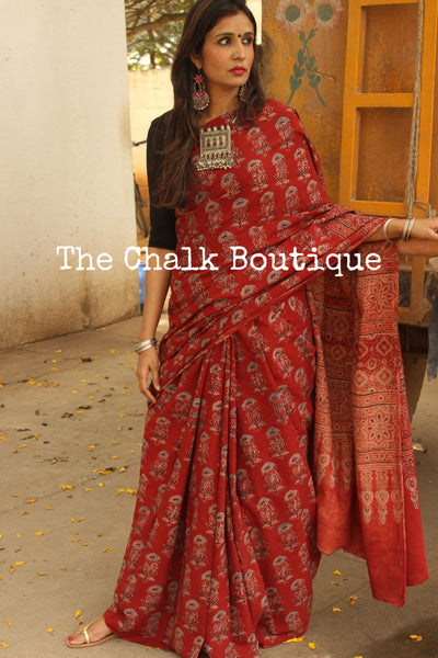 Handwoven vegetable dyed Ajrakh mul cotton saree in madder. KCH-AJR-C1-10-The Chalk Boutique