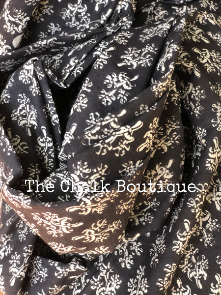 | Snowflakes | Black Traditional Dabu Handblock printed Cotton saree.