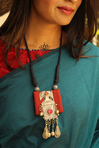 Adjustable dori necklace with madder ajrakh and antique german silver pendant.CC-NP2-C2