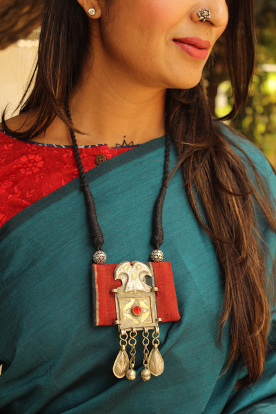 Adjustable dori necklace with madder ajrakh and antique german silver pendant.CC-NP3-C2