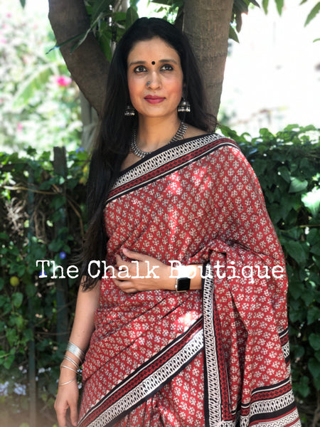 | Fern | Red Traditional Dabu Handblock printed Cotton saree.