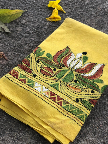 Yellow Hand stitched kantha blouse fabric. BH-KAN-7