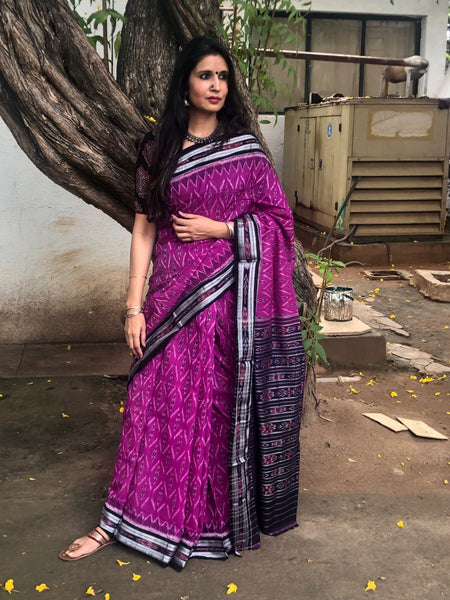 | Lilac Hues | Purple Handwoven sambalpuri ikat saree in cotton.TCB-OV1-NH4-The Chalk Boutique