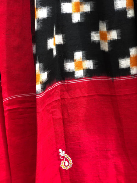 Red And Black Pochampally Double Ikat Dupatta Unstitched Suit Set