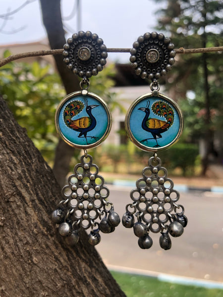 Peacock German Silver Fusion Earrings
