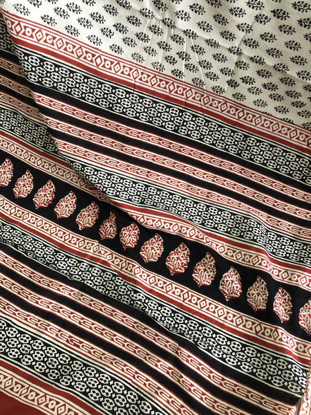 | Krishvi | Off White Sanganeri Print Mul cotton saree.